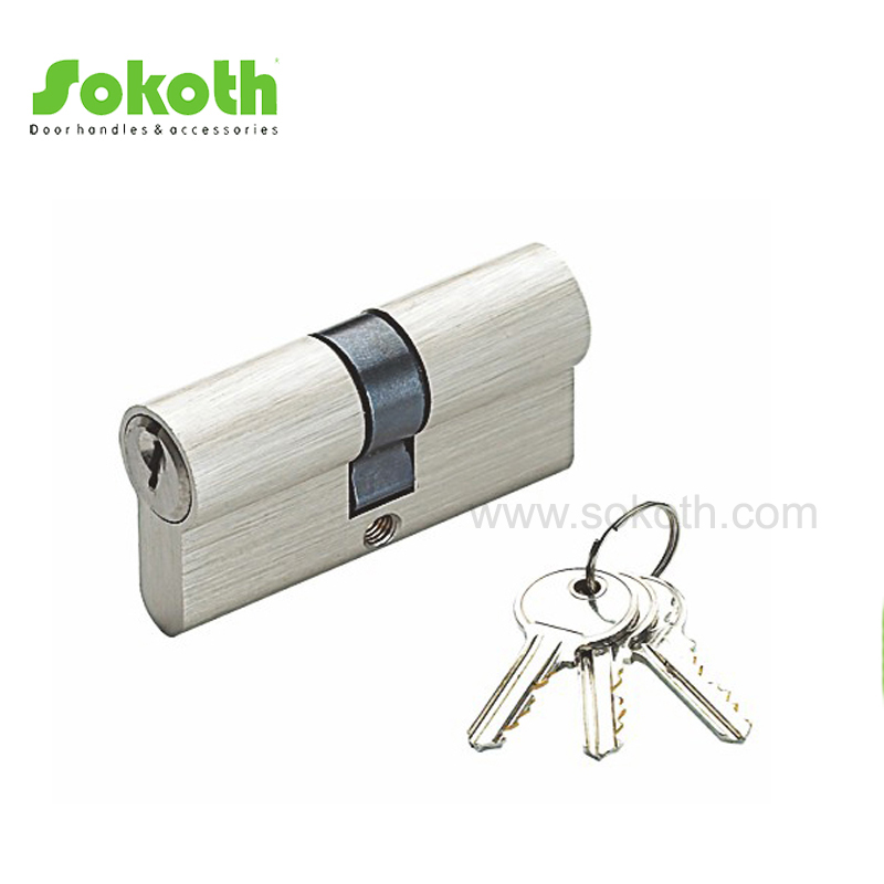 60mm solid brass satin nickel cylinder lock