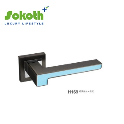 Blue finish door handleH169